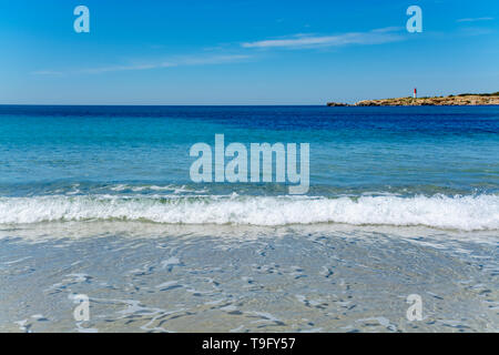 Crystal clear blue water of  Mediterranean sea on St.Croix Martigues sandy beach, Provence, France - Stock Image