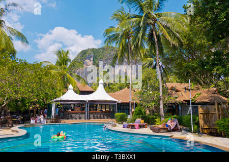 Railay Bay resort and spa, Railay West Beach, Railay, Krabi province, Thailand - Stock Image