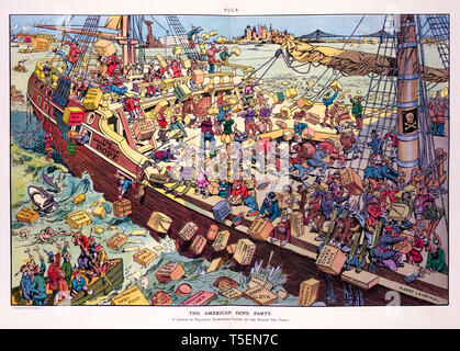 The American dope party, Puck Magazine's cartoon of the Boston Tea Party by Albert Levering, print, 1906 - Stock Image