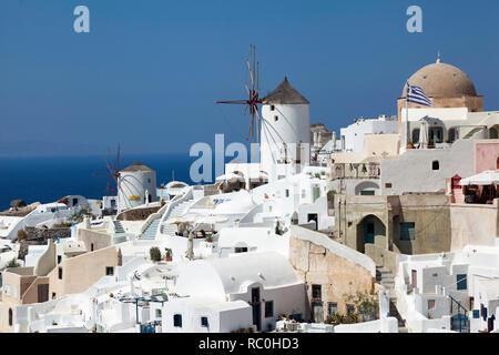 Windmills in Oia, Santorini - Stock Image