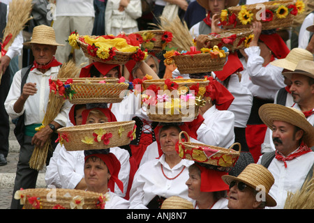 Colorful,Cosumed Traditional Basket festival  in Amandola, Le Marche, Italy - Stock Image