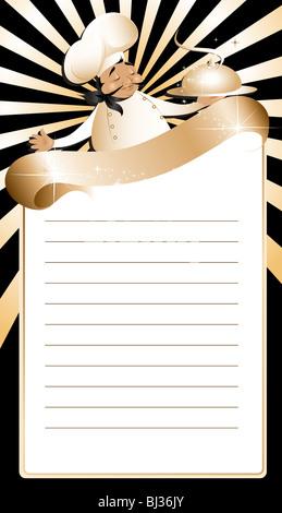 Golden chef menu template - Stock Image
