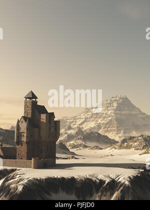 Medieval Tower House Castle in Winter Mountains - Stock Image