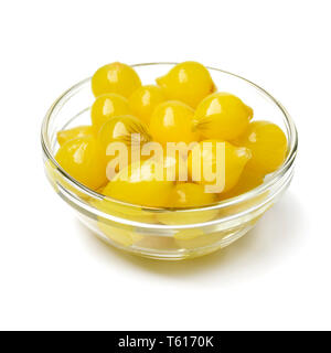 Glass bowl with traditional pickled Amsterdam silverskin onions isolated on white background - Stock Image