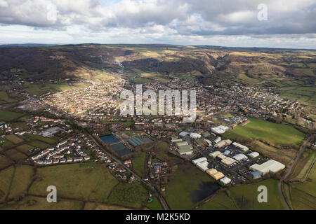 An aerial view of the Somerset village of Cheddar and surrounding Somerset countryside - Stock Image