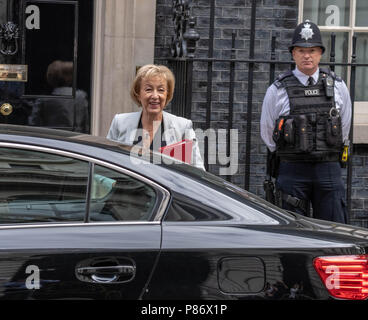 London 10th July 2018, ,Andrea Leadsom, Leader of the House of Commons,  arrives at Cabinet meeting at 10 Downing Street, London Credit Ian Davidson/Alamy Live News - Stock Image