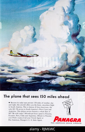 A 1955 magazine advertisement for Panagra, Pan American Grace Airways. - Stock Image