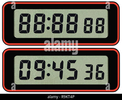 Digital lcd stopwatch timer typeface template, isolated seven segment black arabic numerals, binary digit countdown concept, electronic alarm watch - Stock Image