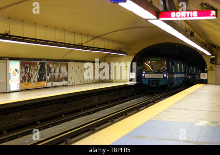 Quebec,Canada. A subway arriving at the Beaudry station in Montreal - Stock Image