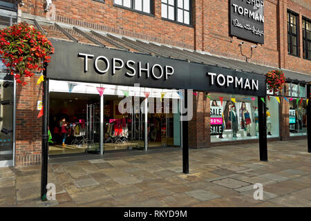 Topshop and Topman clothing and accessories shop in Coppergate Shopping Centre. - Stock Image