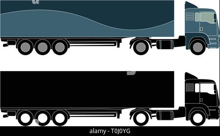detailed truck silhouette - vector - Stock Image