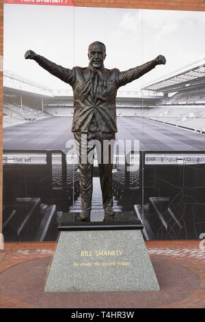 Statue Of Bill Shankly Outside Anfield. - Stock Image