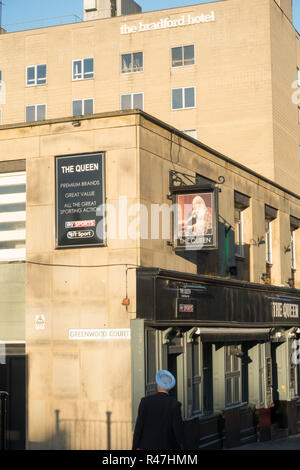 Bradford Hotel and the Queen pub in Bradford, West Yorkshire, UK - Stock Image