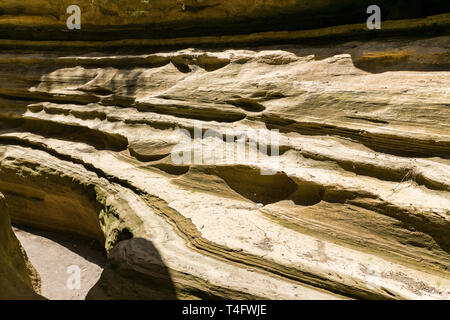View of the eroded cliffs of Ol Njorowa gorge, Hells Gate National Park, Kenya - Stock Image