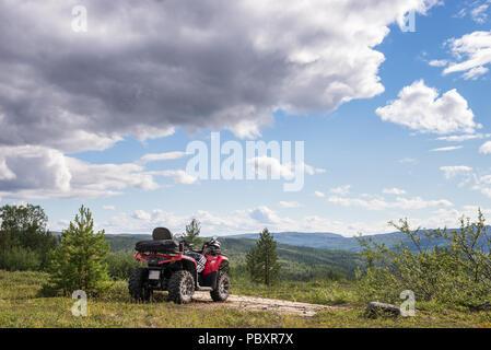 CFMOTO, cf moto, 520L, 520, quad, atv at mountain top in Alta, Finnmark, Norway. - Stock Image