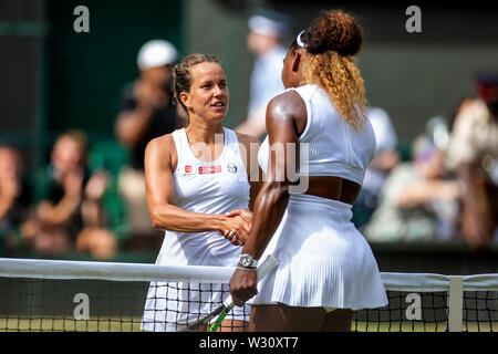 Wimbledon, UK. 11th July 2019, The All England Lawn Tennis and Croquet Club, Wimbledon, England, Wimbledon Tennis Tournament, Day 10; Barbora Zahlavova Strycova (CZE) shakes hands with Serena Williams (USA) after her defeat Credit: Action Plus Sports Images/Alamy Live News - Stock Image