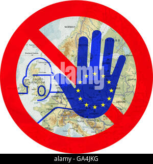 Rejection of the EU, prohibition signs, warning, withdrawal from the European Union - Stock Image
