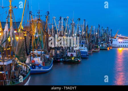 Greetsiel village, municipality Krummhšrn, Historical port, crab trawler, shrimp boats,  East Frisia, Lower Saxony, Germany, - Stock Image