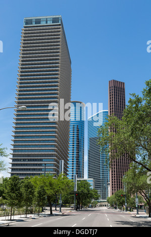 Houston skyline and road on a sunny day with blue sky - Stock Image