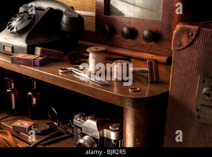 Vintage table scene still life - Stock Image