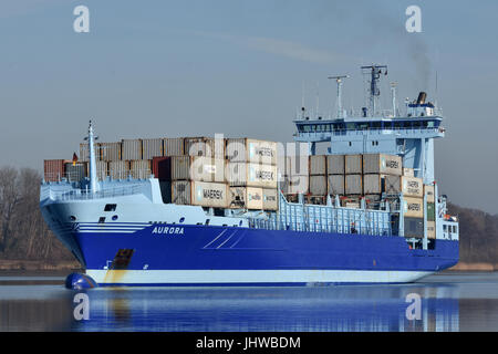 Extraordinary painted feedervessel Aurora - Stock Image