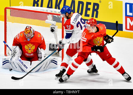 Bratislava, Slovakia. 13th May, 2019. From left ice hockey player ANDREJ VASILEVSKIJ of Russia, Czech TOMAS ZOHORNA and NIKITA ZADOROV of Russia in action during the match Czech Republic against Russia at the 2019 IIHF World Championship in Bratislava, Slovakia, on May 13, 2019. Credit: Vit Simanek/CTK Photo/Alamy Live News - Stock Image