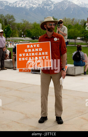 Salt Lake City - May 6, 2017: Supporters rally for Bears Ears National Monument at the Utah State Capitol ahead - Stock Image