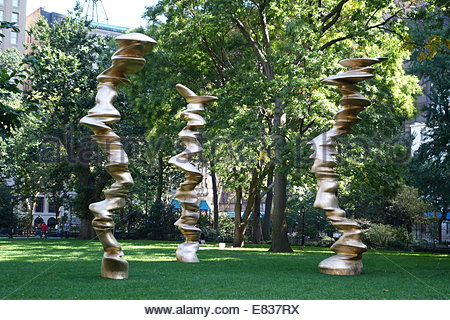 Tony Cragg sculpture, 'Walks of Life,' on display at Madison Square Park in New York City - Stock Image