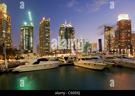 Dubai Marina attwilight , skycrapers. construction - Stock Image