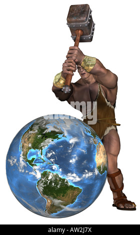 Cave Man beat on the world - Stock Image