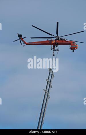 Erickson Air Crane at Drumuir wind farm site near Keith in Moray. - Stock Image