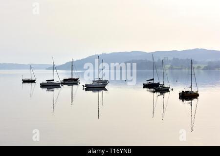 Boats,Yachts,Lake Windermere,Ambleside,Lake District,Cumbria,England,UK - Stock Image