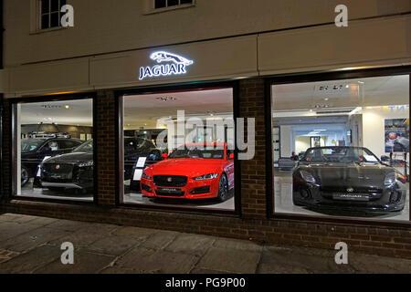 Jaguar,Car,Showroom,Night,Barretts,of,Canterbury,Kent,England - Stock Image