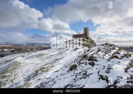 Brentor church in winter Devon Uk - Stock Image
