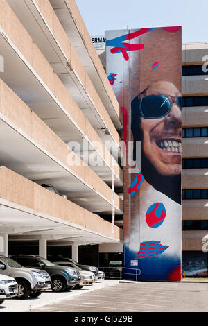 Street art on a parking house in Newcastle, New South Wales, Australia. - Stock Image