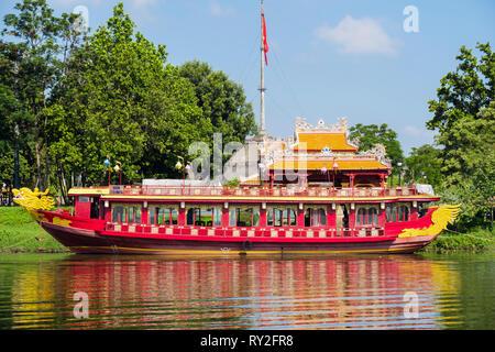 Royal boat moored on Song Huong or Perfume River. Hue, Thừa Thien–Hue Province, Vietnam, Asia - Stock Image
