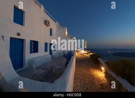 Imerovigli village at night, Santorini - Stock Image