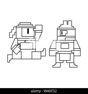 Videogame pixelated ninjas characters symbol - Stock Image