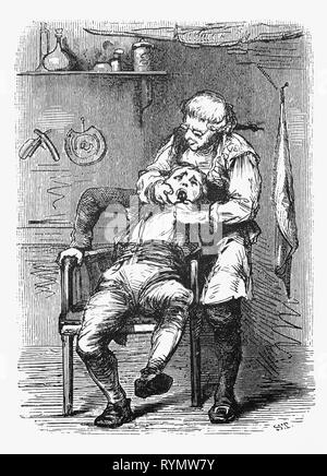 Extracting a bad tooth by a 19th Century barber, who had several functions, one of which was dentistry. From the Camera Obscura, a 19th Century collection of Dutch humorous-realistic essays, stories and sketches in which Hildebrand, the author, takes an ironic look at the behavior of the 'well-to-do', finding  them bourgeois and without a good word for them.DENTIST - Stock Image