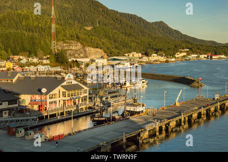 Sept. 17, 2018 - Ketchikan, AK: Elevated view of Thomas Basin Boat Harbour, shops and fishing boat Time Bandit from cruise ship, in late afternoon gol - Stock Image
