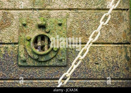 Thames wall detail on Bermondsey Beach, London, England, United Kingdom - Stock Image