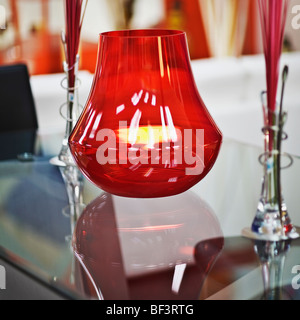 Candlestick holder on a table - Stock Image