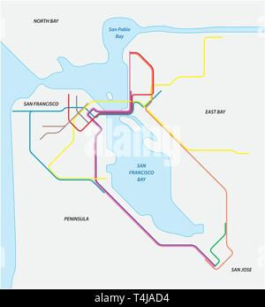 Metro map of San Francisco and the california bay area - Stock Image