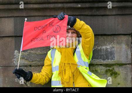 Preston, Lancashire. 15th March, 2019. Pauline waving a red flag at the School strike 4 Climate change, as parents and school children assemble outside the railway station with banners and placards protesting for action against climate change.  The demonstrators marched through the city centre to continue their protest at the Flag Market in the city centre. Children from around Lancashire have walked out of classes today as part of an international Climate Strike. Credit:MWI/AlamyLiveNews - Stock Image