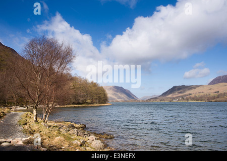 UK, Cumbria, Lake District, Buttermere, view across lake to the village - Stock Image