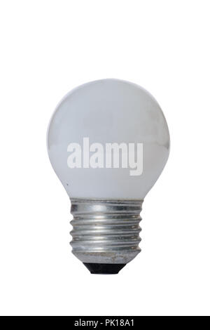 Incandescent lamp with opaque glass bulb and E27 europe socket. Old standard of consumption obsolete and prohibited by current regulations. - Stock Image