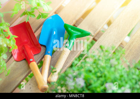 gardening season: colorful gardening tools on a wooden table - Stock Image