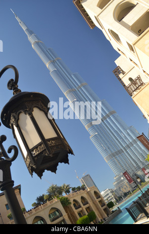 Burj Khalifa, tallest building in world, and old-style lantern, Dubai, UAE - Stock Image