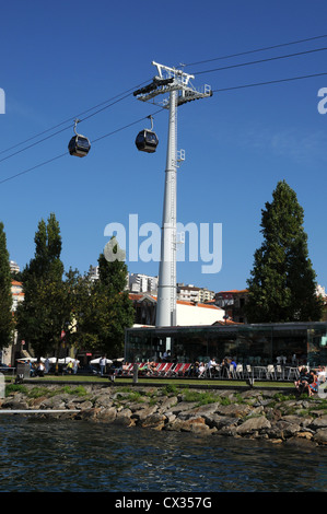 Cable car, Gaia on the opposite bank of the River Douro from Oporto - Stock Image