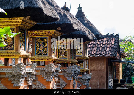 Traditional Balinese architecture inside a family compound in Ubud, Bali, Indonesia. - Stock Image